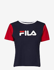 FILA - WOMEN SALOME tee - logo t-shirts - black iris-true red-bright white - 0