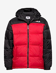 SCOOTER puffer jacket - BLACK-TRUE RED