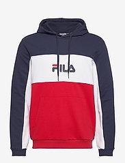 MEN ANALU blocked hoody - TRUE RED-BLACK IRIS-BRIGHT WHITE