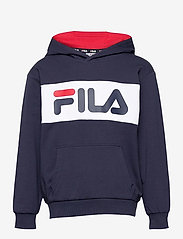 FILA - KIDS UNISEX BRUTUS basic logo hoody - hoodies - black iris-bright white - 0