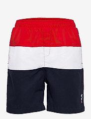KIDS BOYS NICOLO swim shorts - BLACK IRIS-TRUE RED-BRIGHT WHITE