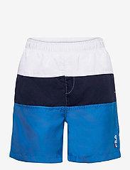 FILA - KIDS BOYS NICOLO swim shorts - bademode - skydiver-black iris-bright white - 0