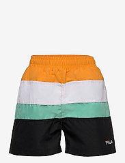 FILA - TEENS BOYS BELA blocked swim shorts - bademode - black-flame orange-bright white-biscay green - 0