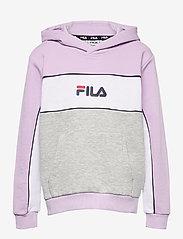 FILA - TEENS GIRLS TRACY hoody - hoodies - light grey melange bros-pastel lilac-brighte white - 0