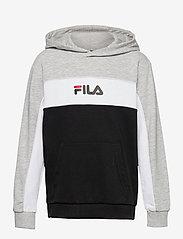 FILA - TEENS BOYS LEVI basic blocked hoody - kapuzenpullover - black-light grey mel.-bright white - 0