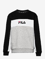 FILA - TEENS BOYS PEPE blocked crew - sweatshirts - light grey melange bros-black-bright white - 0