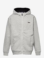 FILA - TEENS UNISEX NIKITA hooded zip jacket - hoodies - light grey mel bros-bright white - 0