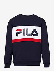 FILA - KIDS UNISEX CARL blocked crew sweat - sweatshirts - black iris-true red-bright white - 0