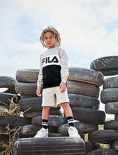 KIDS NIGHT blocked crew shirt - bluzy - light grey melange-black-bright white