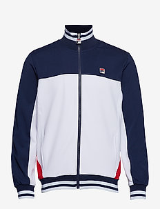 MEN TIEBREAKER PANELLED FUNNEL NECK TRACK JACKET - WHITE