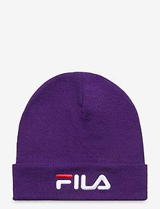 SLOUCHY BEANIE with linear logo - bonnet - tillandsia purple