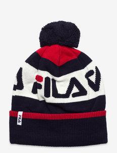 INTARSIA knitted beanie - bonnet - black iris-true red-bright white