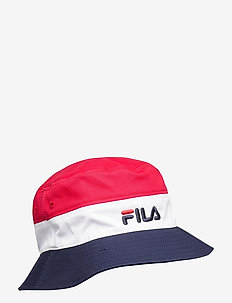 BLOCKED BUCKET HAT - chapeau de seau - black iris-true red-bright white