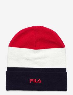 SLOUCHY BEANIE blocked with small logo - bonnet - black iris-true red-bright white