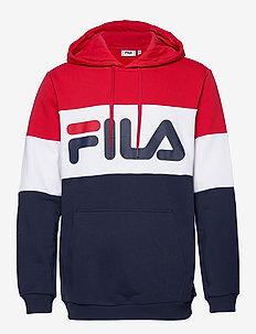 NIGHT blocked hoody - BLACK IRIS-TRUE RED-BRIGHT WHITE