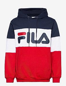 NIGHT blocked hoody - hoodies - true red-black iris-bright white