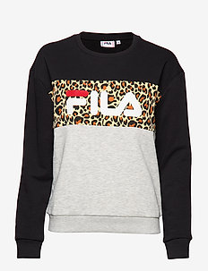 LEAH CREW SWEAT - A210 - LIGHT GREY MELANGE BROSALLOVER LEO PRINTBLACK