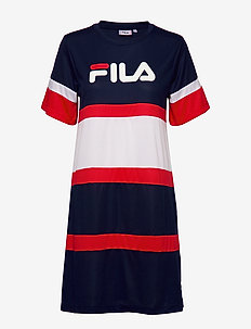 WOMEN TERHIKKA tee dress - A-line fit - K14 - BLACK IRIS-BRIGHT WHITE-TRUE RED