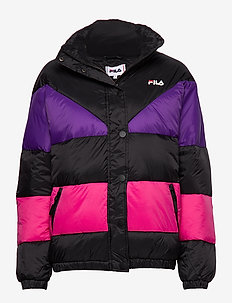WOMEN REILLY puff jacket - A242 - BLACK-TILLANDSIA PURPLE-PINK YARROW