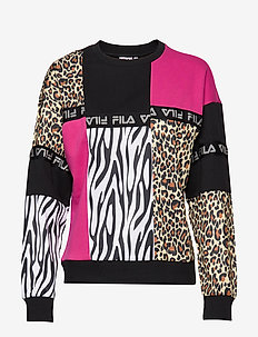 WOMEN PAPINA crew sweat - BLACK-PINK YARROW-ALLOVER LEO