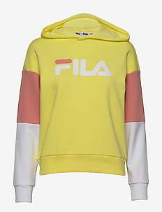 WOMEN BARRET cropped hoody - hoodies - limelight-bright white-lobster bisque