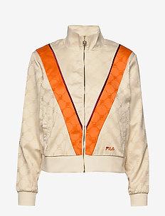 WOMEN HALLE satin track jacket - EGGNOG-MANDARIN ORANGE