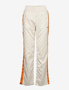 WOMEN HALLE satin track pants - EGGNOG-MANDARIN ORANGE