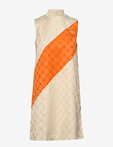 WOMEN HANAKO satin dress - kurze kleider - eggnog-mandarin orange