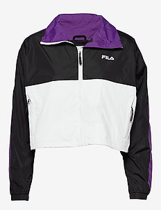 WOMEN CAGE cropped woven jacket - anoraker - black-bright white tillandsia purple