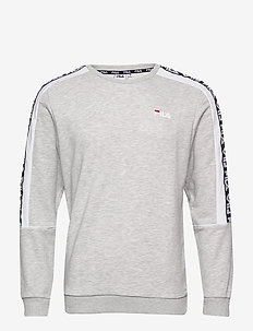 MEN TEOM crew sweat - sweatshirts - light grey mel bros-bright white