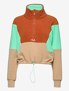 WOMEN WALTA half-zip fleece shirt - sweatshirts - irish cream-cinnamon stick-beach glass
