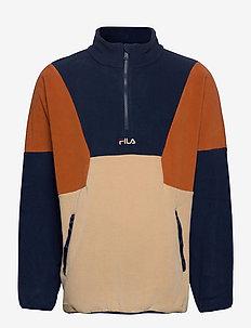 MEN WAFA blocked half zip fleece - bluzy i swetry - irish cream-black iris-cinnamon stick
