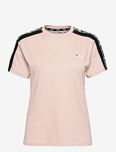 WOMEN TAMSIN reflective taped tee - t-shirts - sepia rose-black