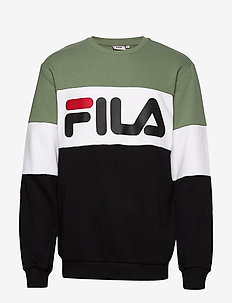 MEN STRAIGHT blocked crew - sweatshirts - sea spray-black-bright white