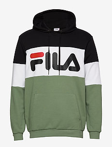 MEN NIGHT blocked hoody - huvtröjor - black-sea spray-bright white