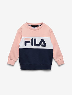 KIDS NIGHT blocked crew shirt - sweatshirts - english rose-black iris-bright white