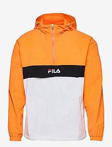 MEN ELMO woven anorak - anorakit - flame orange-bright white-black