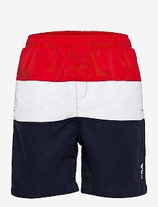 KIDS BOYS NICOLO swim shorts - urheilu-uima-asut - black iris-true red-bright white