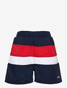 TEENS BOYS BELA blocked swim shorts - swimshorts - black iris-true red-bright white