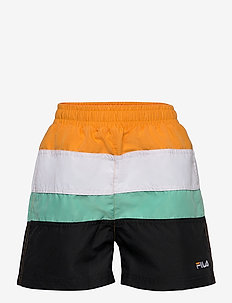 TEENS BOYS BELA blocked swim shorts - swimshorts - black-flame orange-bright white-biscay green