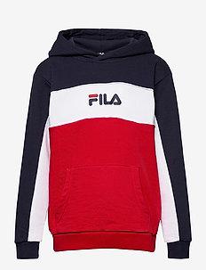 TEENS BOYS LEVI basic blocked hoody - hupparit - true red-black iris-bright white
