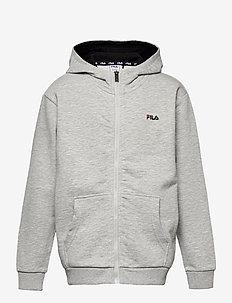 TEENS UNISEX NIKITA hooded zip jacket - kapuzenpullover - light grey mel bros-bright white