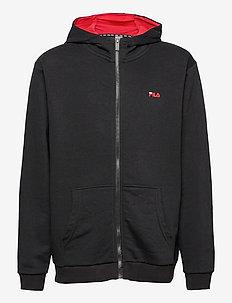 TEENS UNISEX NIKITA hooded zip jacket - pulls a capuche - black-bright white