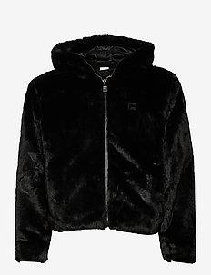 SAMANTHA fake fur hooded jacket - faux fur - black