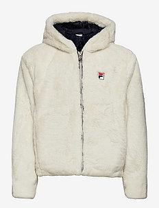 SAMANTHA fake fur hooded jacket - faux fur - whisper white
