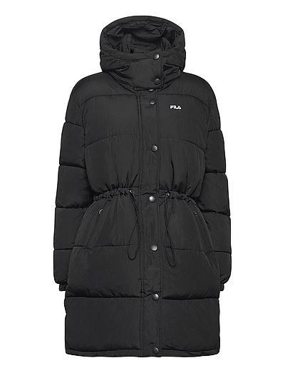 Women Tender Long Puffer Jacket Gefütterter Mantel Schwarz FILA
