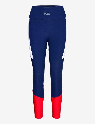 PAULA high waist 7/8 tight - leggings - black iris-true red-bright white