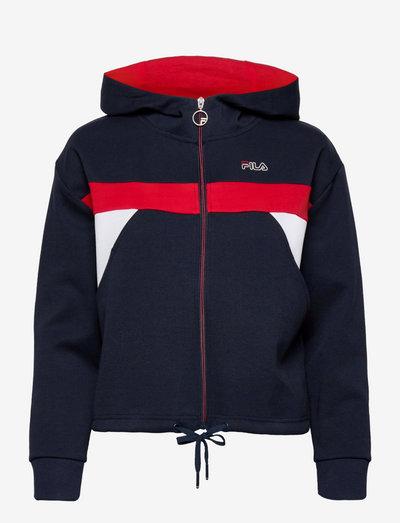 PANJU cropped hooded jacket - pulls à capuche - black iris-true red-bright white