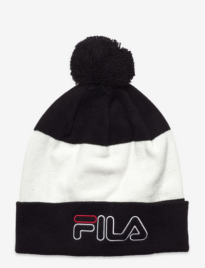 BLOCKED SLOUCHY BEANIE WITH OUTLINE LOGO - bonnet - black-bright white