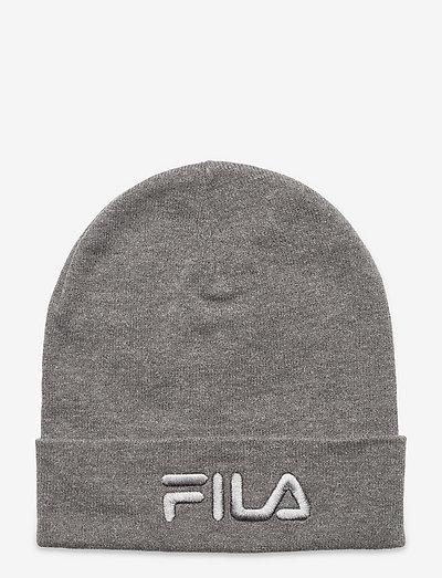 SLOUCHY BEANIE with tonal logo - bonnets - light grey melange bros